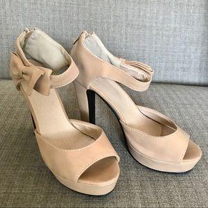 Tan Open Toe Shoe Bow Ankle Strap High Heel Sz 39